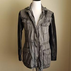 Talula faux leather sleeve utility jacket